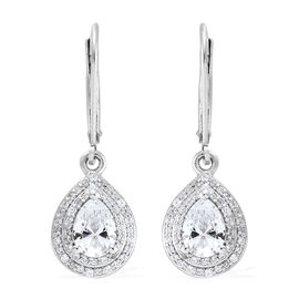 J Francis- Platinum Overlay Sterling Silver (Pear and Rnd) Lever Back Earrings Made with SWAROVSKI Z
