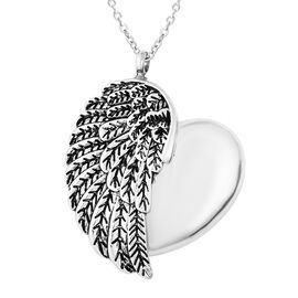2 Piece Set - Memorial Feather Heart Pendant with Chain (Size 20) and Funnel with Needle in Stainles
