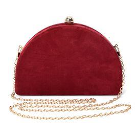 Semi Circle Clutch Bag with Detachable Shoulder Chain Strap (Size 20x13x4.5 Cm) - Burgundy