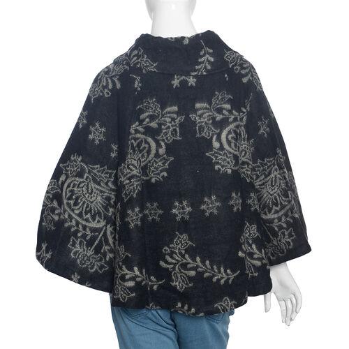 Black Colour Geometric Woven Pattern Short Jacket (Size 115x65 Cm)
