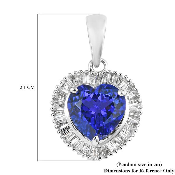 RHAPSODY 950 Platinum AAAA Tanzanite and Diamond (VS/E-F) Heart Pendant  2.30 Ct.