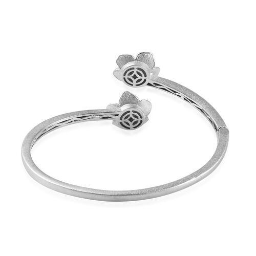 Diamond Floral Enamelled Bangle (Size 7.5) in Silver Tone