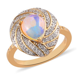 GP Ethiopian Welo Opal and Natural Cambodian Zircon and Blue Sapphire Ring in 14K Gold Overlay Sterl