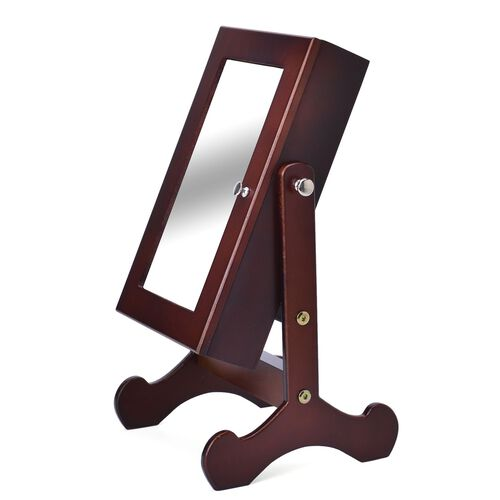 Brown Colour MDF Standing Jewellery Cabinet with Mirror (Size 40X20X6 Cm)