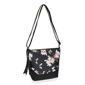 Close Out Deal Black Colour Floral Pattern Tote Bag with Tassel (26 x 24x 9cm)