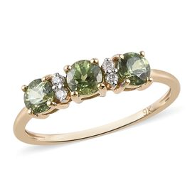 9K Yellow Gold AA Russian Demantoid Garnet (Rnd) and Diamond Ring 1.04 Ct.