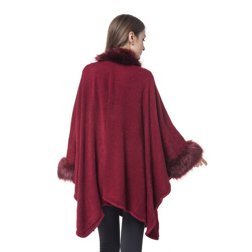 Wine Red Colour Cape with Faux Fur Edge (Free Size)