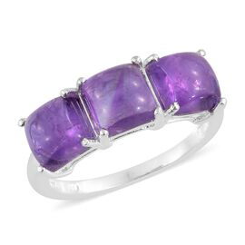 Amethyst (Sqr) Trilogy Ring in Sterling Silver 6.250 Ct.