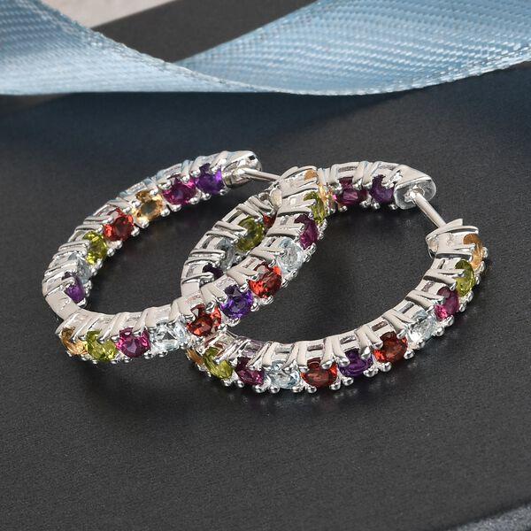 MP Mozambique Garnet, Rhodolite Garnet, Sky Blue Topaz and Multi Gemstone Hoop Earrings (with Clasp Lock) in Sterling Silver 4.91 Ct. Silver wt 6.40 Gms.