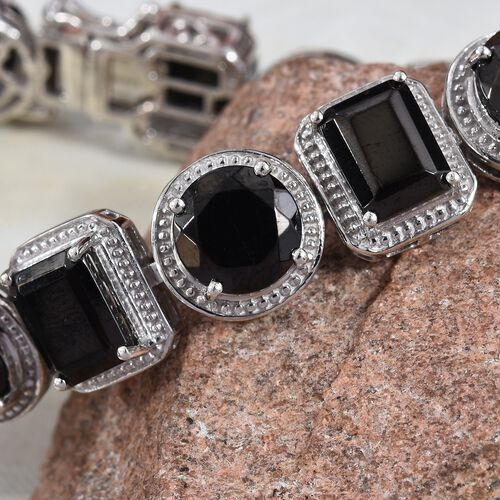 Elite Shungite (Rnd and Oct) Bracelet (Size 7.5) in Platinum Overlay Sterling Silver 24.50 Ct, Silver wt 25.00 Gms