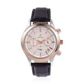 GENOA Multi Function Quartz Movement White Austrian Crystal Studded Water Resistant Watch with Black