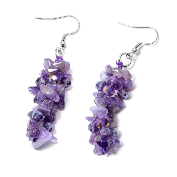 2 Piece Set - Amethyst and Purple Colour Beads Necklace (Size 18 with 1.5 inch Extender) and Hook Earrings in Stainless Steel 368.17 Ct.