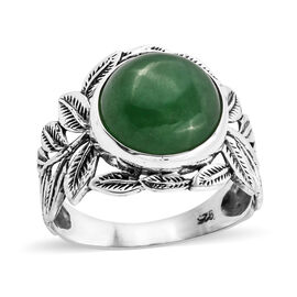 Royal Bali Collection Green Jade (Rnd 12 mm) Ring in Sterling Silver 8.140 Ct.