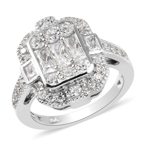 J Francis - Platinum Overlay Sterling Silver Ring Made with SWAROVSKI ZIRCONIA 2.67 Ct