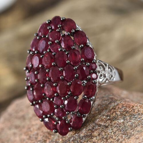 African Ruby (Ovl) Cluster Ring in Platinum Overlay Sterling Silver 9.000 Ct. Silver wt 6.70 Gms.