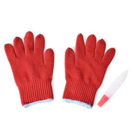 2 Piece Set - Pair of Tuff Gloves (Size 28x15x3.8 Cm) and Silicone Basting Brush (Size 18.5x4 Cm) -