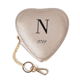 OTO- 100% Genuine Leather N Initial Heart Shape Coin Card / Purse with Key Chain in Gold Colour (Siz