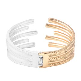 White Austrian Crystal (Rnd) Cuff Bangle (Size 7) in Silver and Gold Tone