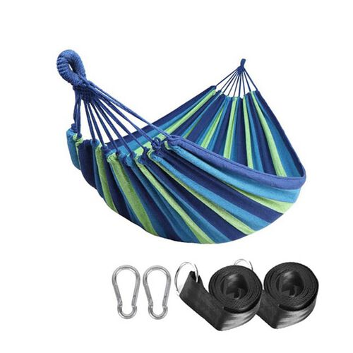 Indoor Outdoor Colourful Striped Camping Hammock (Size 1.85x80 Cm) - Blue