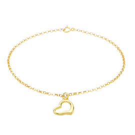9K Yellow Gold Round Belcher Bracelet (Size 7.25) with Heart Charm.