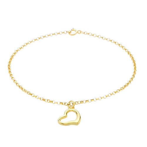 9K Yellow Gold Round Belcher Bracelet (Size 7.25) with Heart Charm.