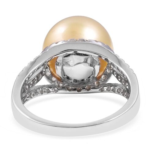 Golden South Sea Pearl (Rnd 12 - 13 mm), Natural White Cambodian Zircon Ring in Rhodium Overlay Sterling Silver