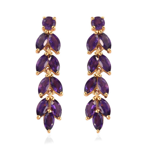 Amethyst Dangling Earrings (with Push Back) in 14K Gold Overlay Sterling Silver 4.75 Ct.