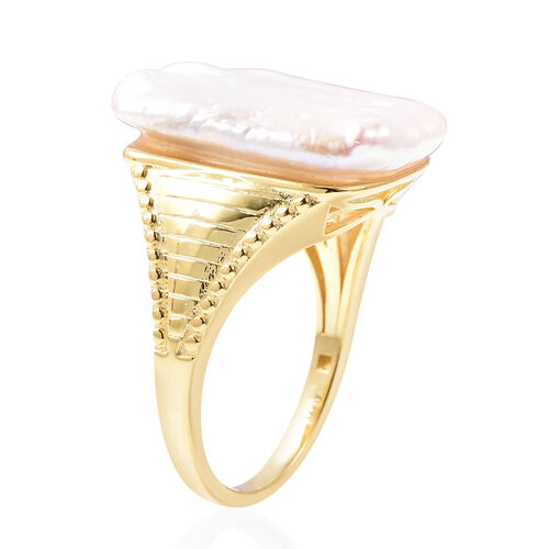 Baroque Pearl Solitaire Ring in Yellow Gold Overlay Sterling Silver