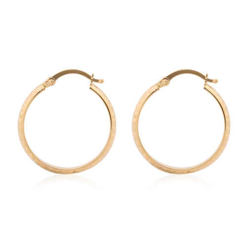 9K Yellow Gold Diamond Cut Hoop Earrings (with Clasp)