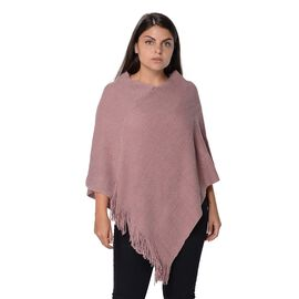 One Time Mega Deal-Solid Colour Knit Sequin Poncho with Tassels  - Pink - One Size