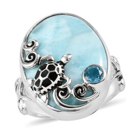 Sajen Silver - Larimar and Celestial Swiss Blue Doublet Quartz Enamelled Turtle Ring in Sterling Sil