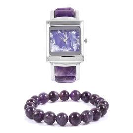 2 Piece Set- STRADA Japanese Movement Bangle Watch  with Amethyst Round Bead Stretchable Bracelet 167.500 Ct.