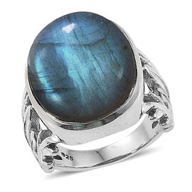 Hand Made Labradorite (Ovl) Ring in Sterling Silver 16.670 Ct, Silver wt 7.10 Gms