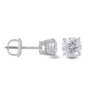 14K White Gold Diamond (Rnd) (I2/G-H) Stud Earrings Diamond Carat wt. 1.00 Ct.