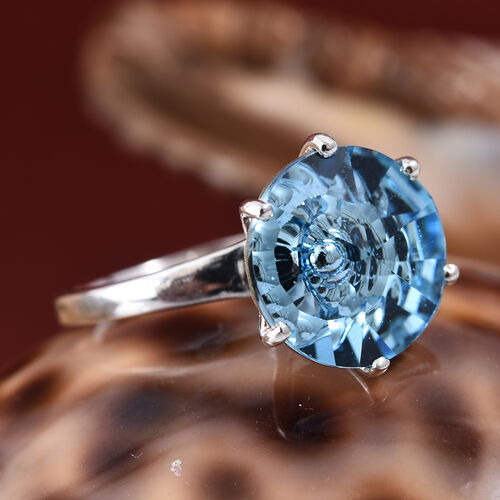 J Francis - Crystal from Swarovski  Aquamarine Colour Crystal (Rnd 12 mm) Solitaire Ring in Sterling Silver