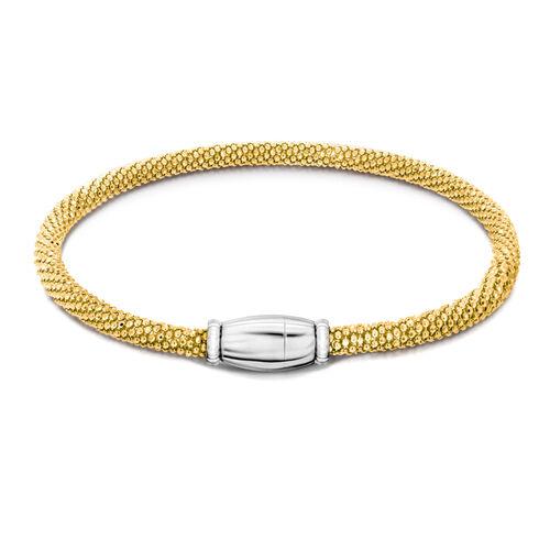 Mega Day Deal - 14K Gold Overlay Sterling Silver Sparkle Bracelet (Size 7.5) with Magnetic Lock, Silver wt 8.70 Gms.