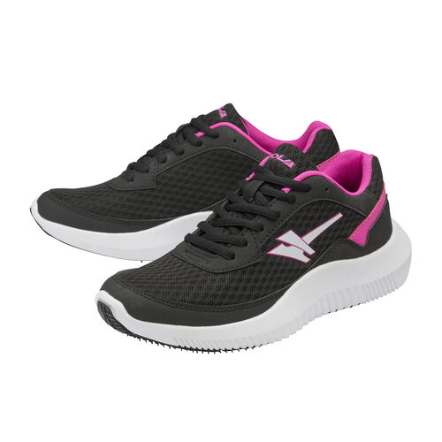 Gola Wexford Lace Up Trainer (Size 6) -  Black and Fuchsia