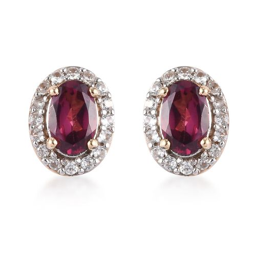 9K Yellow Gold Rhodolite Garnet (Ovl), Natural Cambodian Zircon Stud Earrings (with Push Back) 1.33