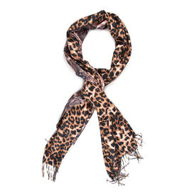 Close Out Deal- Reversible Brown Leopard and Pink/Black Snake Pattern Shawl with Tassels (Size 180x7