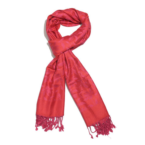 Red and Purple Colour Floral and Leaves Pattern Jacquard Scarf with Tassels (Size 190X70 Cm)