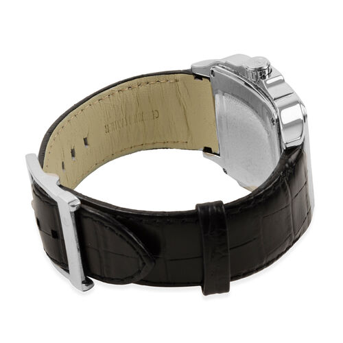 CERRUTI 1881: Swiss Parts Water Resistant Mens Watch with Leather Strap - Black and Silver. Water resistant 5 bar