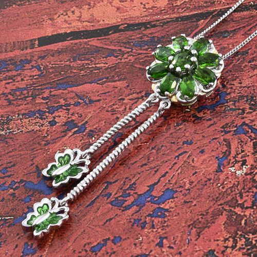 Russian Diopside (Ovl) Floral and Butterfly Pendant with Chain (Size 18) in Platinum Overlay Sterling Silver 2.500 Ct.