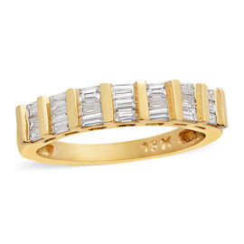 ILIANA 0.50 Carat Diamond Half Eternity Ring in 18K Gold 3.56 Grams IGI Certified SI GH