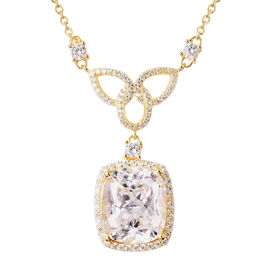 ELANZA Simulated Diamond Necklace (Size 18) in Yellow Gold Overlay Sterling Silver 15.34 Ct, Silver