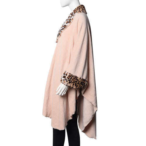 Faux Fur Coat with Off White Leopard Print Collar and Cuffs (Size 140x100 Cm) - Peach