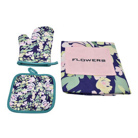 3 Piece Set - Digital Printed 1 kitchen Glove, 1 Pot Holder, and 1 Apron with Pocket in Navy (Size 8
