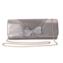 Crystal Bowknot Design Clutch with Chain Strap and Magnetic Flap Closure (Size 26x11x6 Cm) - Bronze