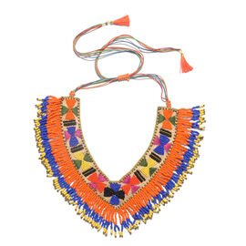 Handmade Blue, Orange and Multi Colour Beads Adjustable Necklace (Size 20)