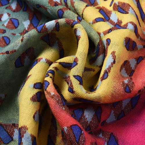 100% Merino Wool Abstract Pattern Scarf - Pink and Yellow