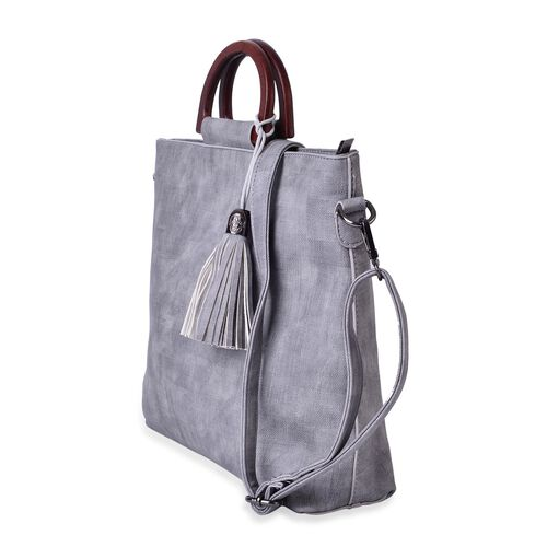 Wooden Handle Grey Tassels Tote with Adjustable and Removable Strap (Size 29x29x9 Cm)